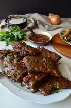 Slow Baked Baby Back Ribs and Grilled Corn with Ñora Allioli