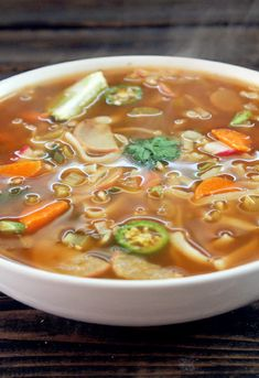 Fat Burning Spicy Thai Noodle Soup with Vegetable Broth, Rice Noodles, Salsa, Celery, Radishes, Garlic, Green Onions, Cilantro, Lime, Carrots, Serrano Peppers, Ginger, Rice Vinegar, Black Pepper, Chili Powder, Onion Powder, Salt.