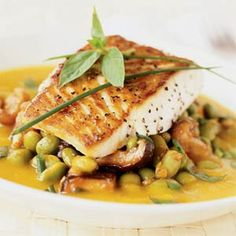 convection oven recipes-Roasted Fish with Kabocha Coulis Cod Recipes, Grilling Recipes, Fish Recipes, Healthy Recipes, Seafood Recipes, Camping Recipes, Healthy Eats, Chicken Recipes, Sweets