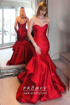 7a909f6118a Classic red satin strapless sweetheart floor length ruffled mermaid long  formal dress for prom party