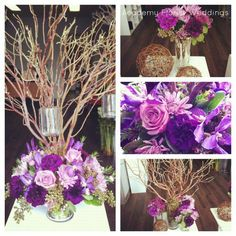 Mock-ups for a beautiful bride with and elegant style and natural twist - all purples,  moss, and manzanita branches. Designed by @Academy Florist  #wedding #centrepieces #decor