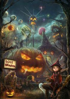Halloween, Witch, Goblin, Black Cat, Jack-O-Lantern, Bat, Ghost, Spooky, Full…