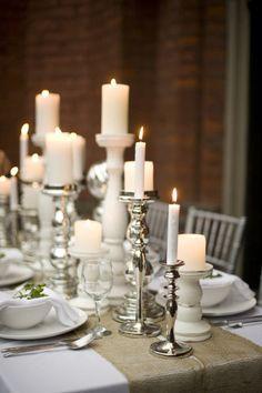 Love pillar candles on a dinner table!