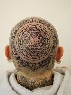 Head tattoo Mandala - 45 Crazy Tattoos on Head  <3 <3