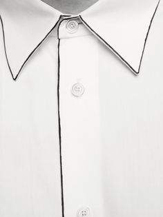 Hermès menswear Fall-Winter 2012  Shirt with supple straight collar in white cotton poplin with paintbrush-stroke highlights.
