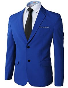 H2H Mens Casual Slim fit Premium Single Breasted Spandex Blazer BLUE US 2XL/Asia 4XL (KMOBL0106)