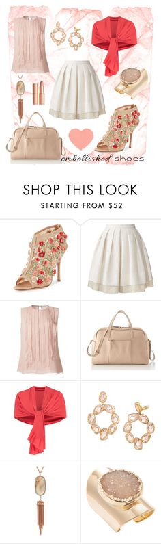 """""""embellished shoes"""" by liahayes ❤ liked on Polyvore featuring Manolo Blahnik, Orla Kiely, Jason Wu, Mark & Graham, Chesca, Tory Burch, Kendra Scott and Alanna Bess"""