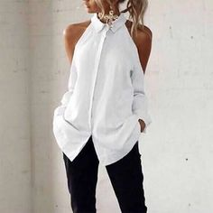 Casual Off-Shoulder Turndown Collar Splicing Pure Colour Blouse will make a romantic out of you! Diy Fashion, Ideias Fashion, Fashion Dresses, Womens Fashion, Classy Outfits, Casual Outfits, Looks Chic, Personalized T Shirts, Diy Clothing