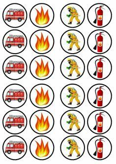 Fireman Party, Firefighter Birthday, Fireman Sam, Fireman Cupcakes, Fire Truck Cupcakes, 4th Birthday Parties, Birthday Party Decorations, Paper Cupcake, Wafer Paper