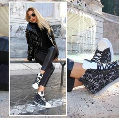 Add some style to your look with these beautiful #2star shoes!  www.2star.it  #high #sneaker #sneakers #white #black #lace #garnish #beautiful #shoe #shoes #style #fashion #fall #winter #collection #woman #girl #instacool #instamoment