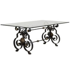 Exceptionnel A Poillerat Inspired Wrought Iron And Bronze Table Base