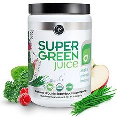 Super Green Juice - USDA Organic Superfood Powder Supplement to Alkalize Detox Energize