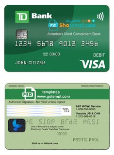 Usa Td Bank Visa Debit Card Template In Psd Format Fully Editable