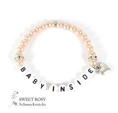 Weiteres - Baby Inside Herz apricot Schwanger Schwangerschaftsarmband Baby Armband Mama Geschenk - ein Designerstück von sweetrosy bei DaWanda