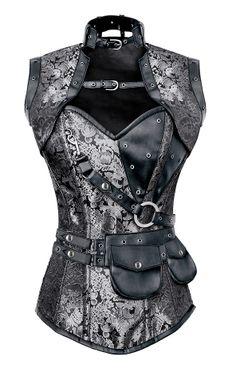 The Violet Vixen - Astute Steampunk Mastermind Brocade Silver Corset, $112.50 (http://thevioletvixen.com/corsets/astute-steampunk-mastermind-brocade-silver-corset/)