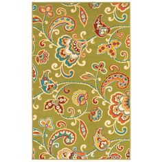Al Fresco is ready to add pizzaz to your indoor or outdoor area with this Paisley rug. This rug is fun, fresh and fabulous with a resistant to color fade, which could occur with ultraviolet light exposure.