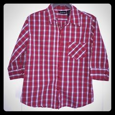 PLAID top. Cotton 3/4 sleeve. PLAID top. Cotton 3/4 sleeve. EUC button down No Boundaries Tops