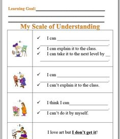 Posters for Learning Goal, Essential Questions, and Scale of Understanding (instead of target sheet, student must articulate in own words how well they understand) Learning Targets, Learning Goals, Classroom Crafts, School Classroom, Teaching Strategies, Teaching Tips, Teacher Tools, Teacher Resources, Art Classroom Management