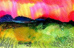Original Alcohol Inks on Yupo Painting  Landscape by kauaiartist