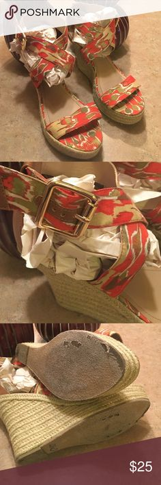 """Steve Madden wedges. Steve Madden buckle fastening with an espadrilles wedge rubber sole. Wore once size 9     4 1/2"""" wedge 1"""" platform no box. Steve Madden Shoes Wedges"""