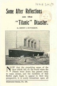 After the Titanic disaster, there was a strong outpouring of religious texts, linking the Titanic theme in with sermons and the like. There were also tracts comparing the need to be saved from the Titanic to the need to be saved by the church.