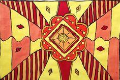 Een van mijn eerste schilderijen op papier. Een drukke bedoeling van kleuren en vormen, waarbij symmetriecentraal staat. Afmeting: A4 papier