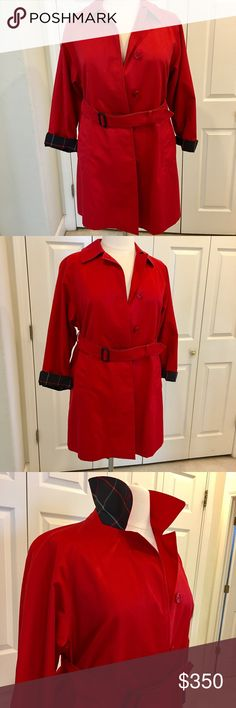 Burberry Trench Coat- Like New - Size: L Gorgeous authentic Burberry trench coat - EUC - no visible signs of wear - no odor - check pattern on cuffs, lining and under the collar - it's authentic - above the knee - size: L - beautiful red color with hidden buttons and belt and pockets- 3/4 sleeves - from a smoke free and pet free home Burberry Jackets & Coats