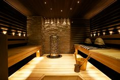 SAUNA; katossa mokka sormipaneeli Boat Interior, Interior Design, Sauna Lights, Finnish Sauna, Steam Sauna, Gym Room, Spa Rooms, Attic Bathroom, Spa Massage