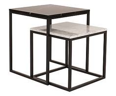 Set di 2 tavolini in marmo e metallo Praire II