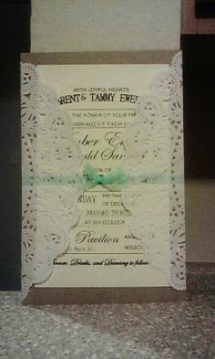 Our Diy lace wedding invitation. @Stephanie Close Close Close Camp what do you think of this?