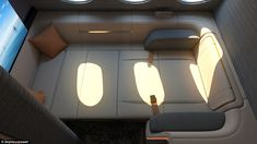 Seymourpowell unveils First Spaces plane suite with king size beds and huge TV screen Car Interior Design, Yacht Interior, Interior Sketch, Airbus A380, Airplane Interior, Aircraft Interiors, Luxury Private Jets, Luxury Cabin, Aircraft Design