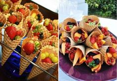 New Fruit Cups Ideas Waffle Cones Ideas Fruit Party, Snacks Für Party, Party Favors, Fun Fruit, Shower Favors, Party Desserts, Picnic Snacks, Shower Party, Kids Fruit