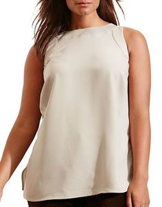 Lauren Ralph Lauren Plus Solid Sleeveless Tank Top Women's Grey Fog 14