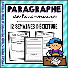 French Writing Paragraph of the Week / Écriture: Paragraphe de la semaine Paragraph Writing Topics, Stages Of Writing, Writing Prompts, Literacy Programs, Writing Programs, Teaching French Immersion, French Education, Core French, Social Studies Classroom