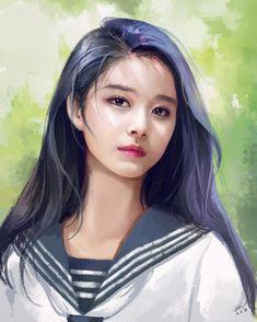 Digital art girl drawing Ideas for 2019 Digital Art Girl, Digital Portrait, Portrait Art, Korean Art, Asian Art, Manga Girl, Anime Art Girl, Hiba Tan, Drawn Art