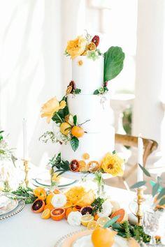 Vibrant Citrus Wedding Inspiration Shoot at Great Marsh Estate - Chic Vintage Brides : Chic Vintage Brides Wedding Cake Inspiration, Wedding Ideas, Wedding Themes, Themed Weddings, Wedding Stuff, Wedding Planning, Vegas Wedding Venue, Spring Flower Bouquet, Chic Vintage Brides