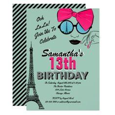 #Paris Themed Birthday Invitation Card - #birthdayinvitation #birthday #party #invitation #cool #parties #invitations