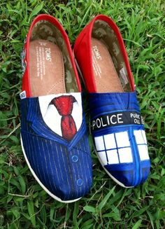 Doctor Who inspired Painted Toms Shoes - Tenth Doctor Tardis Weeping Angel Dalek