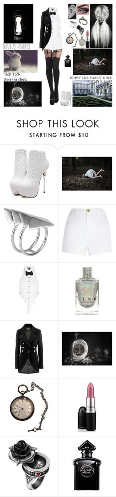 """""""✦ Follow the rabbit down the hole. Spinning eternal wheel of gold and I know, and I know. And darkness will only cover my soul. ✦"""" by blueknight ❤ liked on Polyvore featuring First People First, River Island, Kiki de Montparnasse, Strenesse, MAC Cosmetics and Guerlain"""