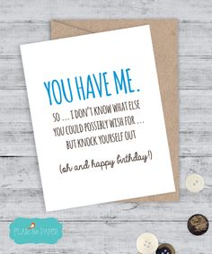 Birthday Card Boyfriend Funny I Love You Sorry Quirky Snarky Greeting Just For Fun Because Blank By FlairandPaper On