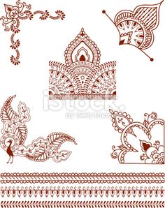 Mehndi Corner Designs (Vector) Royalty Free Stock Vector Art Illustration