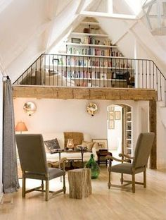 Day reading in - cottage life loft wedding, home remodeling, reading loft, read Reading Loft, Reading Library, Attic Library, Loft Room, Bedroom Loft, Loft House, Home Libraries, Loft Spaces, Loft Apartments
