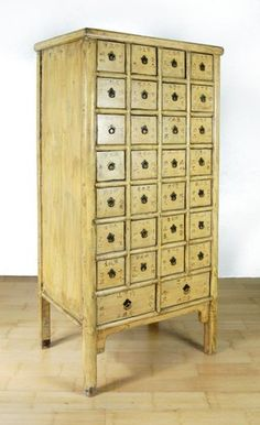 Antique Yellow Apothecary Cabinet 28 Drawer Chinese Herb Chest Storage 67x29x21""