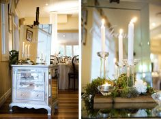 Love the mirror draws and glass candle holders with greenery