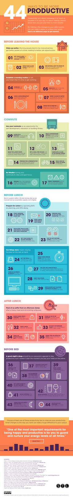 Infographic: 44 ways to be more productive - Matador Network #productivity #infographic