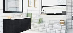 Få inspiration til dit drømmekøkken her Double Vanity, Bathtub, Mirror, Bathroom, Inspiration, Furniture, Home Decor, Round Bathroom Mirror, Standing Bath