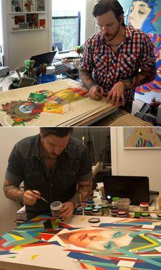 Erik Jones working in his studio. http://theirison.deviantart.com/