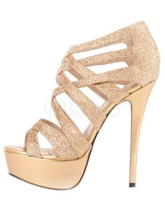 [$28.79 - 40%OFF] Chic Gold Sequined Cloth Stiletto Heel Womens Gladiator Sandals