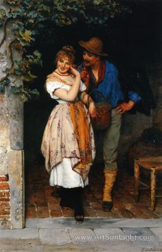 """The Suitor"", 1887 ~ Eugene de Blaas, Austrian academic classical painter (1843 - 1931)."