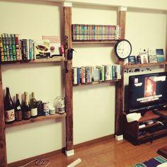 ナチュラル/DIY/ディアウォール/賃貸でも諦めない!/壁/1日で完成!!…などのインテリア実例 - 2015-07-15 17:57:19 | RoomClip(ルームクリップ) Diy Interior, Room Interior, Interior Architecture, Interior And Exterior, Bookshelf Desk, House Rooms, Interior Inspiration, Diy Design, Shelving